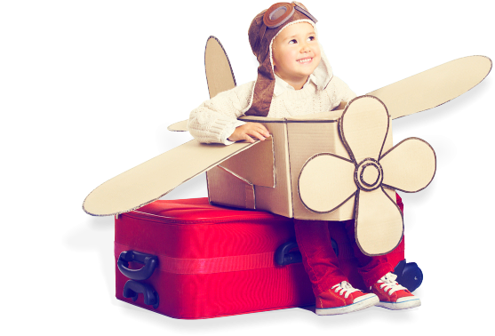 smiling little child with an airplane costume