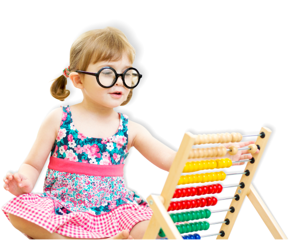 little girl playing an abacus