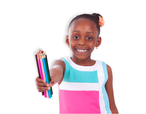 smiling little girl holding a pencil