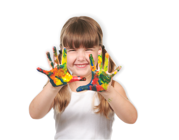 young little girl with paint in her hands