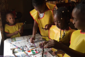 group of children having an art class